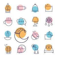 sovande ikonuppsättning
