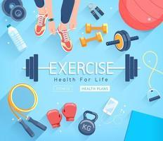 übt konzeptionelle Gestaltung. junge Leute, die trainieren. Sport Fitness Banner Werbung Vektor-Illustrationen. vektor