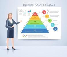 stående presentation för affärskvinna med infografikvektorillustrationer. vektor