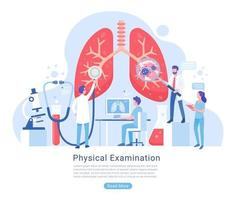 fysisk och andningssystem undersökning och behandling vektorillustration.