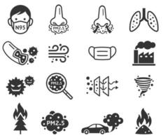 mikrodamm pm 2,5 ikoner. vektor illustrationer.