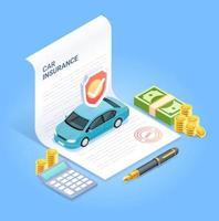 Kfz-Versicherung. Versicherungsvertragsdokument mit Stiftgeldmünze und Taschenrechner. Vektor isometrische Darstellung.