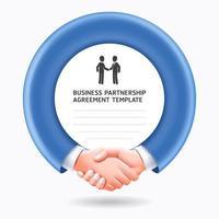 affärspartnerskap konceptuell design. affärsmän handslag mall bakgrund. vektor
