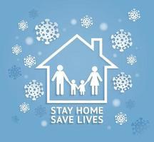 Bleib zu Hause, rette Leben Papierschnitt Stil Vektor-Illustrationen. vektor