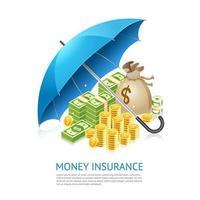Konzeptdesign für Geldversicherungen. Geld unter Regenschirmvektorillustration lokalisiert auf weißem Hintergrund. vektor