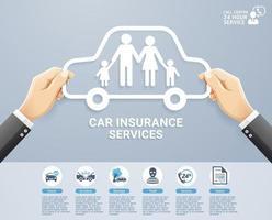 försäkringstjänster konceptuell design. hand som håller en pappersfamilj i bil. vektor illustrationer.