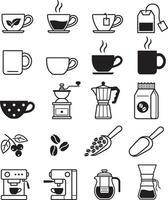kaffe svarta ikoner. vektor illustrationer.