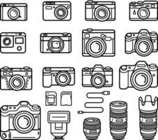 kamera linje ikoner set. vektor illustration.