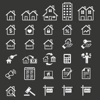 Immobilien-Ikonen. Vektorabbildungen.