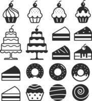 Bäckerei Kuchen Ikonen gesetzt. Vektorillustration. vektor