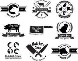 Logo und Etikett der Metzgerei. Vektorabbildungen. vektor
