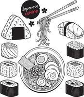 Hand gezeichneter Stil der japanischen Lebensmittelkritzeleieelemente. Vektorabbildungen. vektor