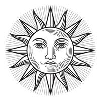 Vintage Sonne antikes Symbol. Vektorabbildungen. vektor