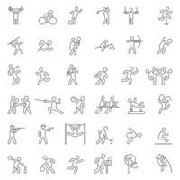 uppsättning sportlinjeikoner. vektor illustration.