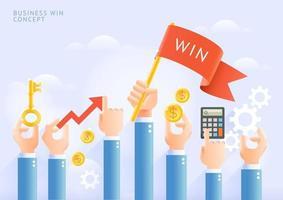 Business-Win-Konzept. Gruppe von Geschäftsmannhänden, die rote Fahne und Geschäftsgegenstände halten. vektor