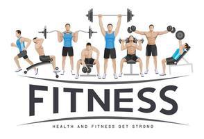 übt konzeptionelle Gestaltung. junge Leute machen Silhouette Workout. Sport Fitness Banner Werbung Vektor-Illustrationen.