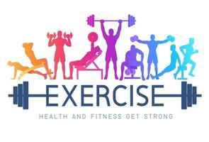 övar konceptuell design. unga människor gör silhuett träning. sport fitness banner marknadsföring vektor illustrationer.