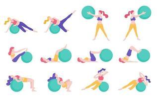 Frauen Fitness Gymnastikball Workout Haltung Vektor-Illustrationen.