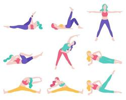 Frauen Fitness Übung Haltung Vektor-Illustrationen.