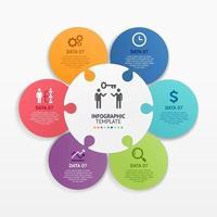 pussel infographics cirkel mall. vektor illustrationer.