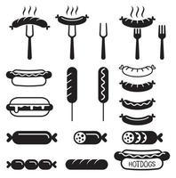 Hotdogs-Symbole setzen Vektorillustrationen.