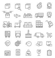 logistik last leverans linje ikoner set. vektor illustrationer.