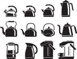 vattenkokare ikoner set. vektor illustrationer.