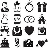 bröllop ikoner. vektor illustrationer.