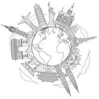 runt om i världen reser berömda landmärke doodle konst ritning skiss stil vektorillustrationer. vektor