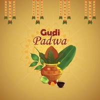 Gudi Padwa kreative realistische Grußkarte