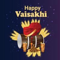 lycklig vaisakhi punjabi festival firande gratulationskort vektor
