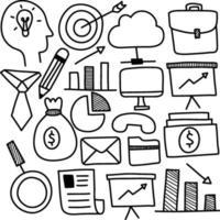 Satz von Geschäfts- und Finanzkritzelsymbol vektor