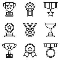 Award- und Trophäen-Icon-Pack vektor