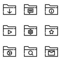 uppsättning mappar ikon vektor