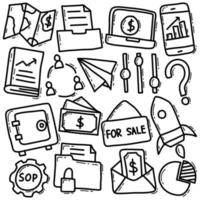 Business- und Finanz-Doodle-Icon-Set vektor