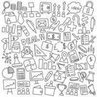 affärs- och finans doodle ikonuppsättning vektor