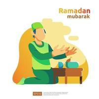 glad ramadan mubarak och islamisk eid fitr eller adha platt design hälsningskoncept med människor karaktär för webbsidans mall, banner, presentation, sociala och tryckta medier vektor