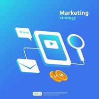 Digitales Mobile- und Affiliate-Online-Marketingstrategiekonzept für soziale Medien. Verweisen Sie einen Freund Werbung Inhalt Promotion Strategie Vektor Banner Illustration.