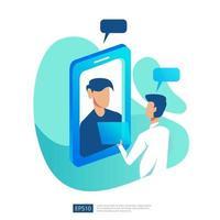 Online-Gesundheitsdienst und medizinische Beratung. Konzept zur Unterstützung der Diagnose beim Arzt anrufen und chatten. Vorlage für Web-Landingpage, Banner, Präsentation, Social Media, Poster, Anzeige, Promotion oder Printmedien vektor