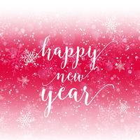Gott nytt år text på snöflinga bakgrund