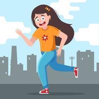 Mädchen rennt freudig vor dem Hintergrund der Stadt. flache Zeichenvektorillustration. vektor