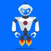 fliegender Roboter aus der Zukunft. moderner und modischer Humanoid. flache Zeichenvektorillustration. vektor