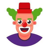 lustiger Clown. Der Kopf lächelt. flache Zeichenvektorillustration. vektor