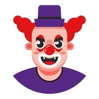 Kopf eines bösen Clowns in einem Hut. flache Zeichenvektorillustration. vektor