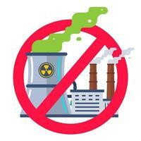 förbjudet tecken på kärnkraftverk. platt vektorillustration