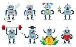 Roboter eingestellt auf einem weißen Hintergrund. verschiedene Berufe und Charaktere lebender Maschinen. wütend, freundlich, liebevoll, arbeitend. flache Zeichenvektorillustration vektor