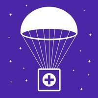 Erste-Hilfe-Kasten fällt mit dem Fallschirm. soziale Hilfe. flache Vektorillustration. vektor