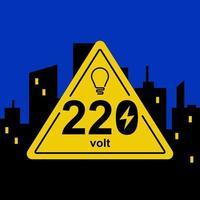 gelbes dreieckiges Zeichen von 220 Volt vor dem Hintergrund der Nachtstadt. flache Vektorillustration. vektor