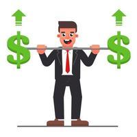 Manager mit einer Langhantel mit einem Dollarsymbol. Steigerung des Unternehmensgewinns. flache Zeichenvektorillustration.