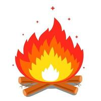 Lagerfeuer mit einer großen Flamme und Brennholz auf einem weißen Hintergrund. flache Vektorillustration vektor